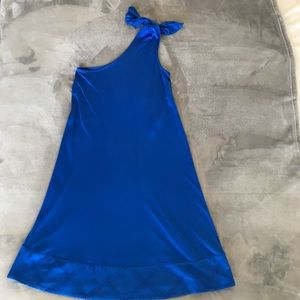 Diane Von Furstenberg Blue Silk One Shoulder Dress